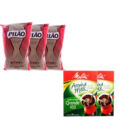 kit-com-3-pacotes-de-cafe-pilao-60-coador-de-papel-melita