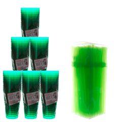 kit-para-balada-com-50-copos-de-acrilico-pic-verde-300ml-plastilania-150-canudos-flexiveis-neon-verde-bicao