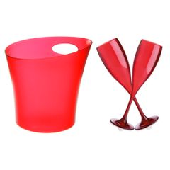 kit-com-1-balde-de-gelo-vermelho--2-tacas-para-champanhe-vitra-vermelha-150ml