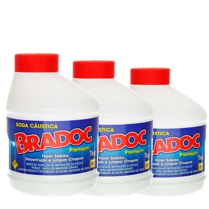 Kit Soda Cáustica Bradoc com 3 Kilos