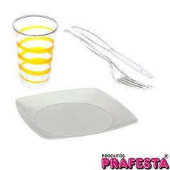 kit-prafesta-descartavel-com-60-copos-mania-festa-amarelo-330ml-50-pratos-quadrados--50-garfos-master-e-50-facas-master