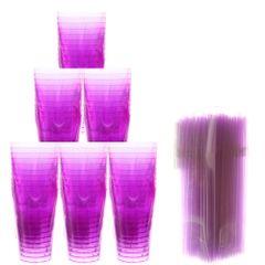 kit-para-balada-com-50-copos-de-acrilico-pic-lilas-300ml-plastilania-150-canudos-flexiveis-neon-lilas-bicao