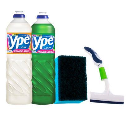 kit-de-pia-de-cozinha-com-1-detergente-ype-de-coco-e-1-detergente-ype-de-limao-rodinho-de-pia-e-1-esponja-anti-aderente