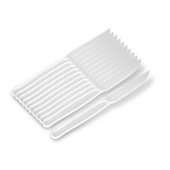 Faca de Plástico Descartável para Refeição Master Branca c/ 50un Goldenplast